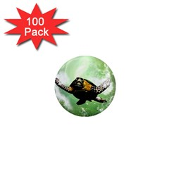 Beautiful Seaturtle With Bubbles 1  Mini Magnets (100 pack)