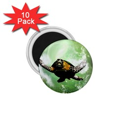 Beautiful Seaturtle With Bubbles 1.75  Magnets (10 pack)