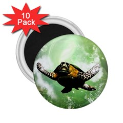 Beautiful Seaturtle With Bubbles 2.25  Magnets (10 pack)