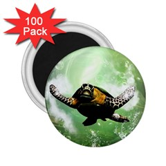 Beautiful Seaturtle With Bubbles 2.25  Magnets (100 pack)