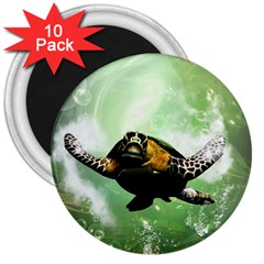 Beautiful Seaturtle With Bubbles 3  Magnets (10 pack)