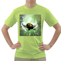 Beautiful Seaturtle With Bubbles Green T-Shirt