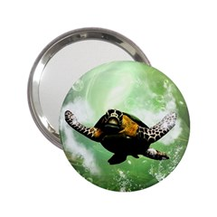 Beautiful Seaturtle With Bubbles 2.25  Handbag Mirrors