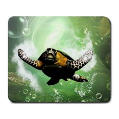 Beautiful Seaturtle With Bubbles Large Mousepads