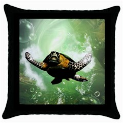 Beautiful Seaturtle With Bubbles Throw Pillow Cases (Black)