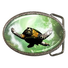 Beautiful Seaturtle With Bubbles Belt Buckles