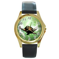 Beautiful Seaturtle With Bubbles Round Gold Metal Watches