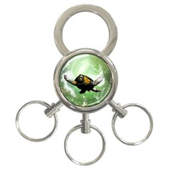 Beautiful Seaturtle With Bubbles 3-Ring Key Chains