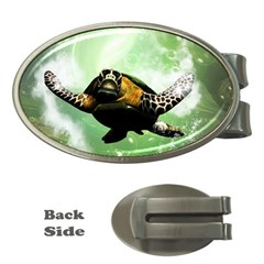 Beautiful Seaturtle With Bubbles Money Clips (Oval)