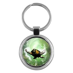 Beautiful Seaturtle With Bubbles Key Chains (Round)