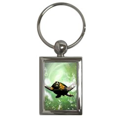 Beautiful Seaturtle With Bubbles Key Chains (Rectangle)