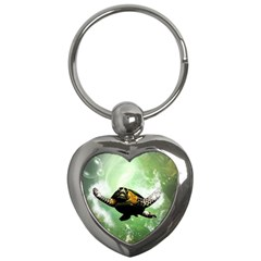 Beautiful Seaturtle With Bubbles Key Chains (Heart)