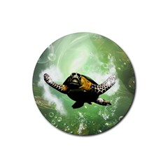 Beautiful Seaturtle With Bubbles Rubber Coaster (Round)