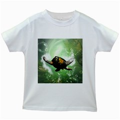 Beautiful Seaturtle With Bubbles Kids White T-Shirts