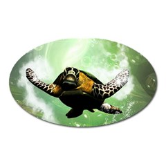 Beautiful Seaturtle With Bubbles Oval Magnet