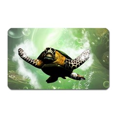 Beautiful Seaturtle With Bubbles Magnet (Rectangular)