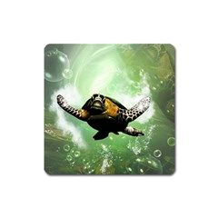 Beautiful Seaturtle With Bubbles Square Magnet