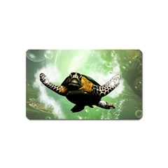 Beautiful Seaturtle With Bubbles Magnet (Name Card)