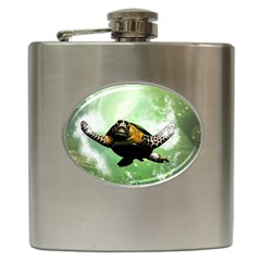 Beautiful Seaturtle With Bubbles Hip Flask (6 oz)