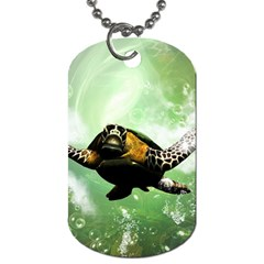 Beautiful Seaturtle With Bubbles Dog Tag (Two Sides)