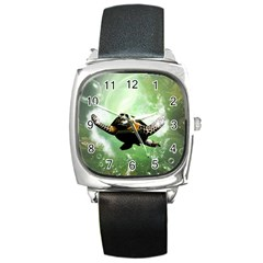 Beautiful Seaturtle With Bubbles Square Metal Watches