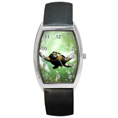 Beautiful Seaturtle With Bubbles Barrel Metal Watches
