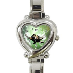 Beautiful Seaturtle With Bubbles Heart Italian Charm Watch