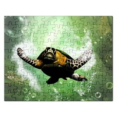 Beautiful Seaturtle With Bubbles Rectangular Jigsaw Puzzl