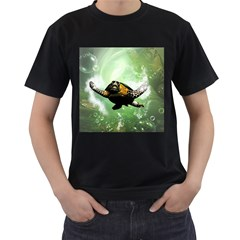 Beautiful Seaturtle With Bubbles Men s T-Shirt (Black) (Two Sided)