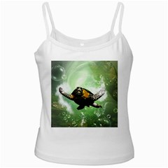 Beautiful Seaturtle With Bubbles Ladies Camisoles
