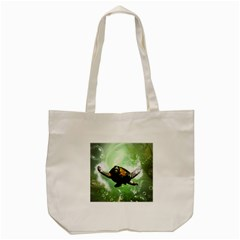 Beautiful Seaturtle With Bubbles Tote Bag (Cream)