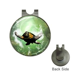 Beautiful Seaturtle With Bubbles Hat Clips with Golf Markers