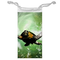 Beautiful Seaturtle With Bubbles Jewelry Bags