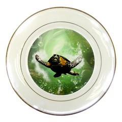 Beautiful Seaturtle With Bubbles Porcelain Plates
