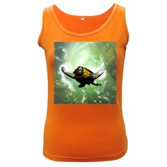 Beautiful Seaturtle With Bubbles Women s Dark Tank Tops
