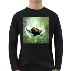 Beautiful Seaturtle With Bubbles Long Sleeve Dark T-Shirts