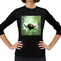 Beautiful Seaturtle With Bubbles Women s Long Sleeve Dark T-Shirts