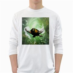 Beautiful Seaturtle With Bubbles White Long Sleeve T-Shirts