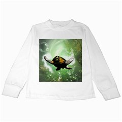 Beautiful Seaturtle With Bubbles Kids Long Sleeve T-Shirts