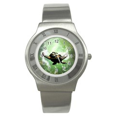 Beautiful Seaturtle With Bubbles Stainless Steel Watches