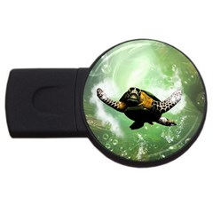 Beautiful Seaturtle With Bubbles USB Flash Drive Round (4 GB)