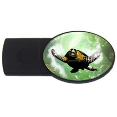 Beautiful Seaturtle With Bubbles USB Flash Drive Oval (4 GB)