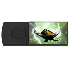 Beautiful Seaturtle With Bubbles USB Flash Drive Rectangular (4 GB)