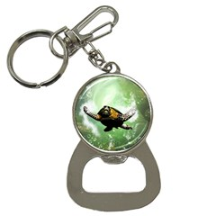 Beautiful Seaturtle With Bubbles Bottle Opener Key Chains