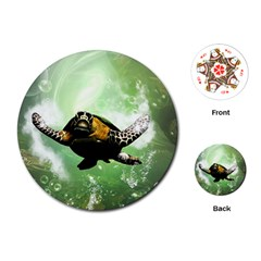 Beautiful Seaturtle With Bubbles Playing Cards (Round)