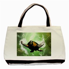 Beautiful Seaturtle With Bubbles Basic Tote Bag