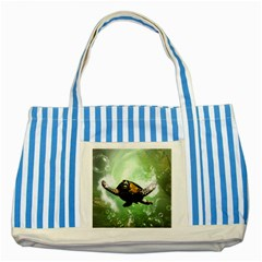 Beautiful Seaturtle With Bubbles Striped Blue Tote Bag