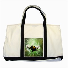 Beautiful Seaturtle With Bubbles Two Tone Tote Bag