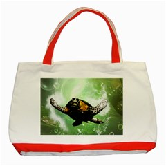 Beautiful Seaturtle With Bubbles Classic Tote Bag (Red)
