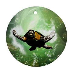 Beautiful Seaturtle With Bubbles Round Ornament (Two Sides)